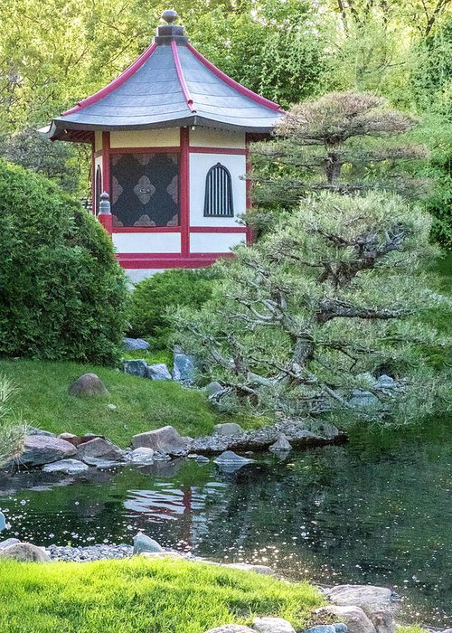 Japanese Garden 6 Pagoda Vertical Greeting Card For Sale By