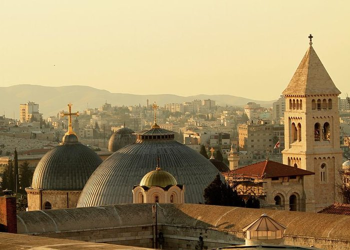 West Bank Greeting Card featuring the photograph Jerusalem Churches On The Skyline by Picturejohn