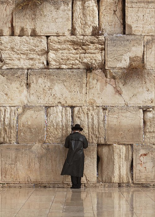 People Greeting Card featuring the photograph Jewish Man Praying On The Wailing Wall by Richmatts
