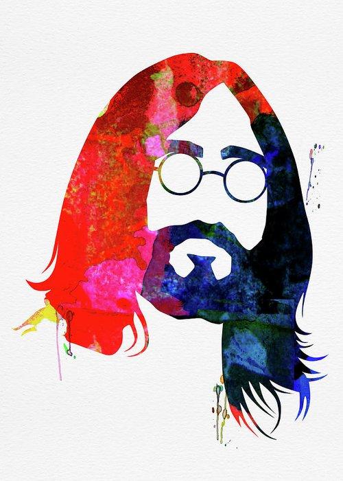 John Lennon Greeting Card featuring the mixed media John Watercolor by Naxart Studio