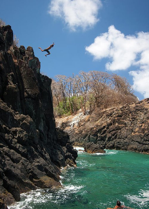 Tranquility Greeting Card featuring the photograph Jumping by Mauricio M Favero