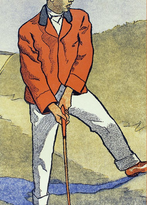 Golf Greeting Card featuring the drawing June, July, Detail From 1931 Golfing Calendar by Edward Penfield