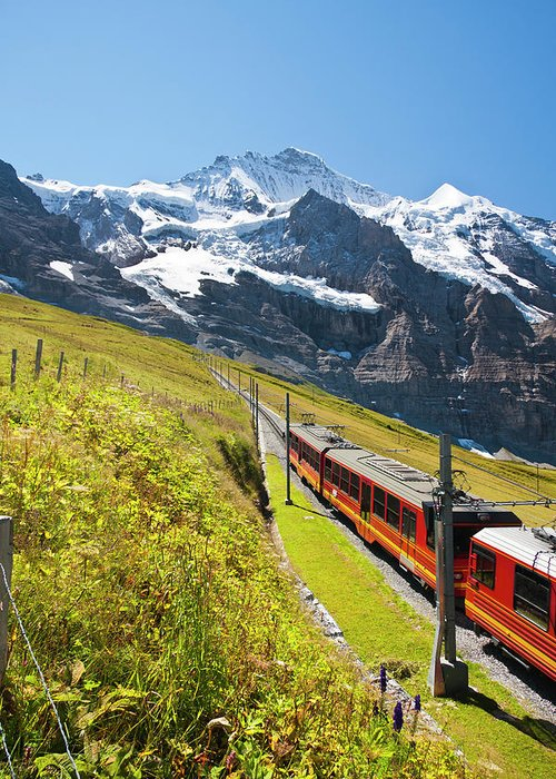 Scenics Greeting Card featuring the photograph Jungfraubahn, Swiss Alps by Michaelutech