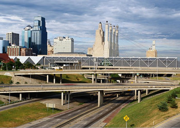 Panoramic Greeting Card featuring the photograph Kansas City Skyline, Missouri by Jeremy Woodhouse