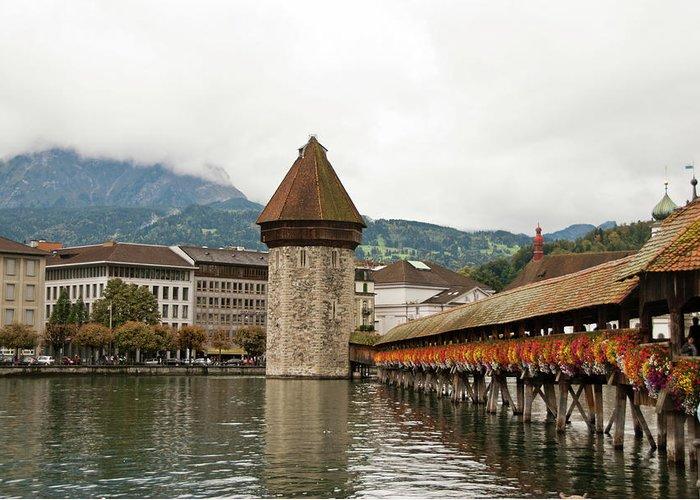 Scenics Greeting Card featuring the photograph Kapellbrucke On Reuss River, Lucerne by Cultura Rf/rosanna U