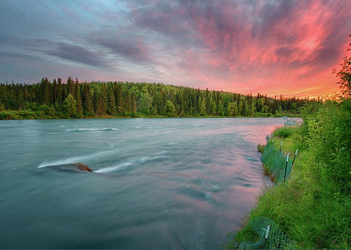 Alaska Greeting Card featuring the photograph Kenai River Alaska Sunset by Nathan Bush