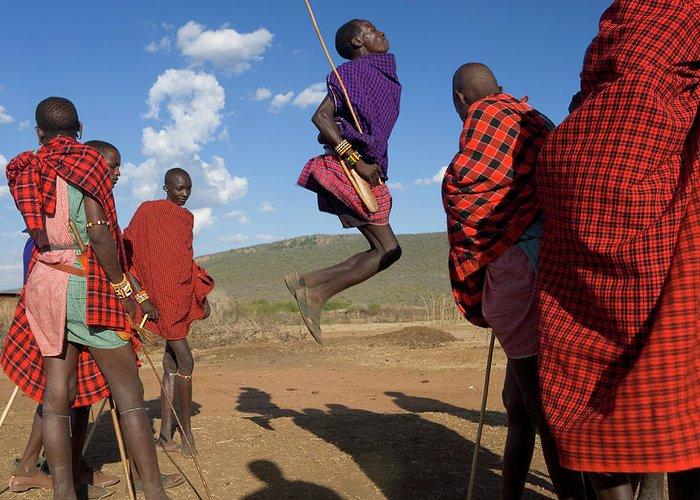Young Men Greeting Card featuring the photograph Kenya, Masai Mara, Masai Dancers by Peter Adams