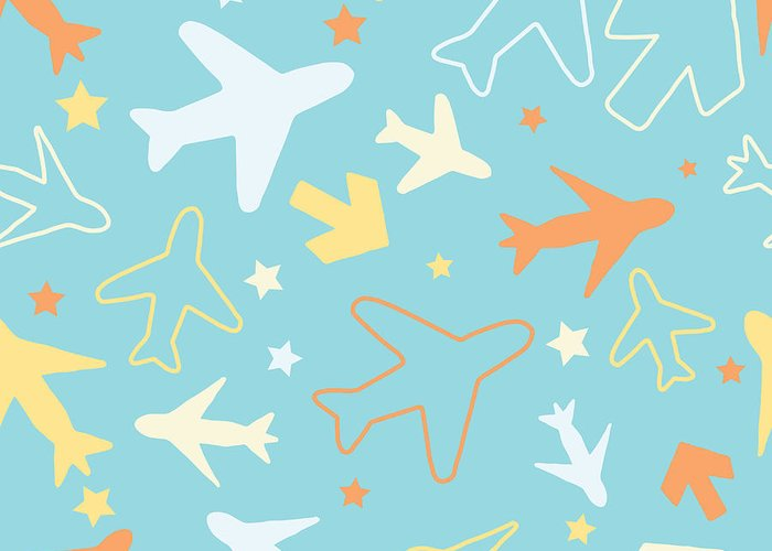 Plane Greeting Card featuring the digital art Kids Pattern Background With Color by Barkarola