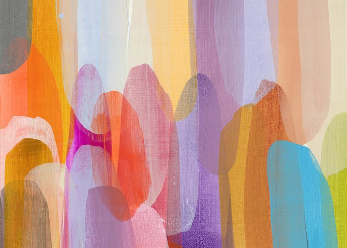 Abstract Greeting Card featuring the painting Kinship by Claire Desjardins