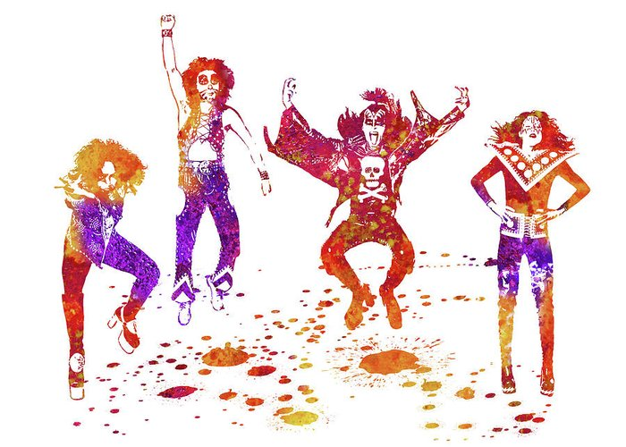 Kiss Greeting Card featuring the painting Kiss Band Watercolor Splatter 01 by JESP Art and Decor
