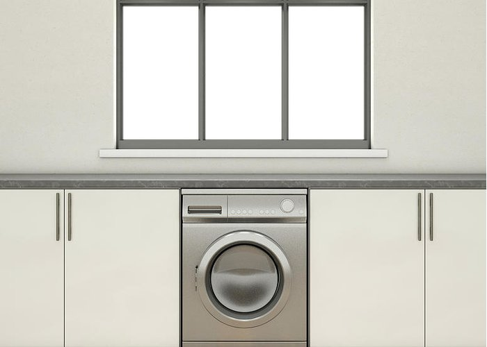 Washing Machine Greeting Card featuring the digital art Kitchen And Cupboards by Allan Swart