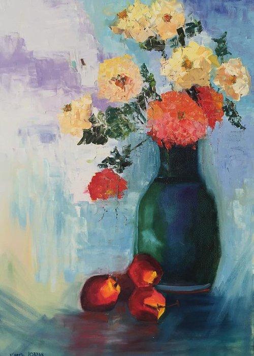 Greeting Card featuring the painting Kitchen Joy by Karen Jordan