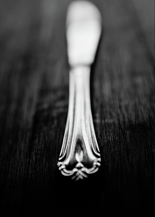 Silver Colored Greeting Card featuring the photograph Knife by Mmeemil