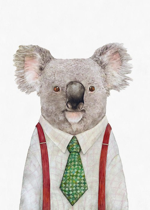 Koala Greeting Card featuring the painting Koala by Animal Crew