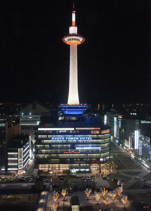 Kyoto Tower Greeting Card featuring the photograph Kyoto Tower by Genpi Photo
