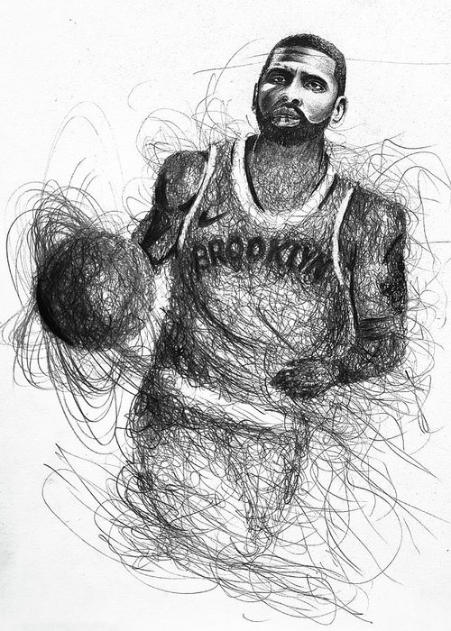 Kyrie Irving Greeting Card featuring the drawing Kyrie Irving by Pawel Sikora