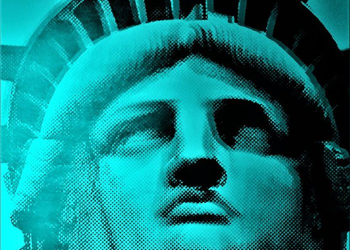 Statue Of Liberty Greeting Card featuring the photograph Lady Liberty In Turquoise by Rob Hans