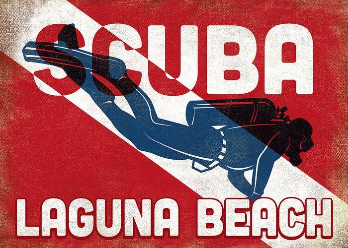 Laguna Beach Greeting Card featuring the digital art Laguna Beach Scuba Diver - Blue Retro by Flo Karp