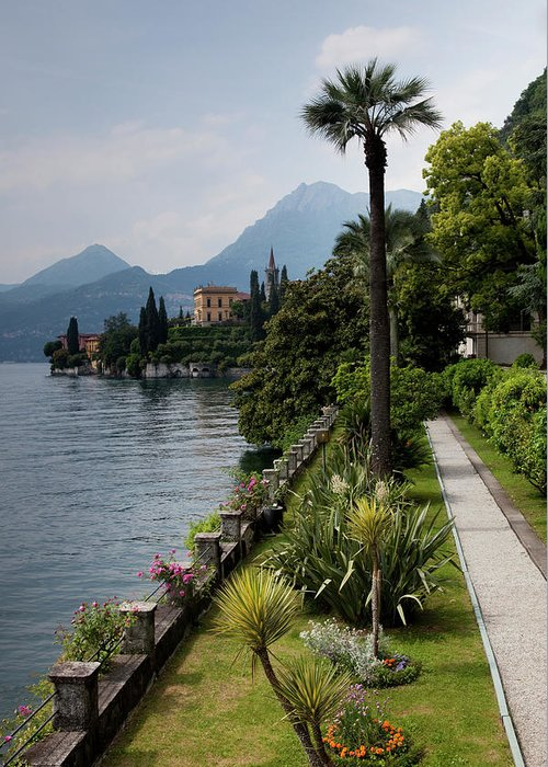 Scenics Greeting Card featuring the photograph Lake Como, Varenna by Walter Bibikow
