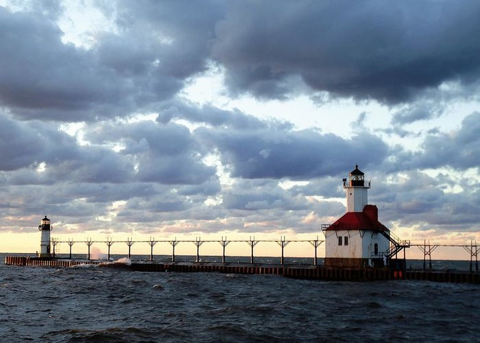 Water Greeting Card featuring the photograph Lake Michigan Lighthouse by Katherine Taibl