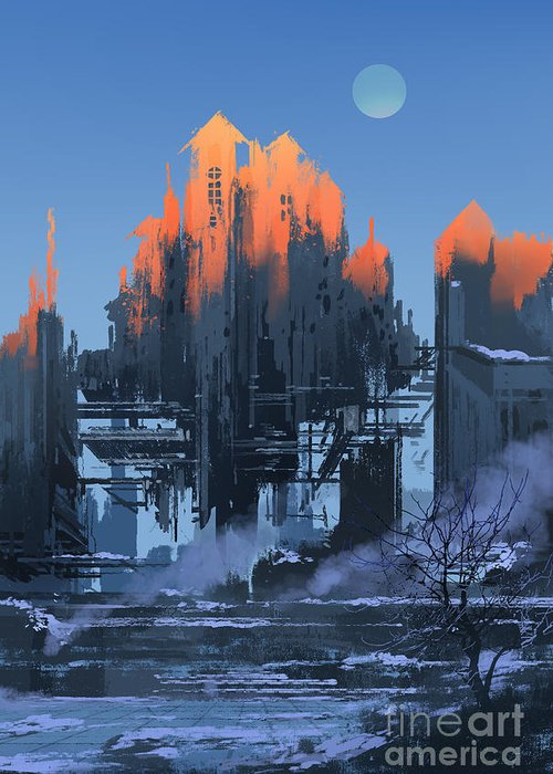 Fi Greeting Card featuring the digital art Landscape Painting Of Abandoned by Tithi Luadthong