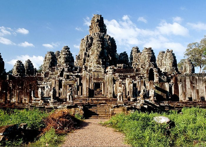 Scenics Greeting Card featuring the photograph Landscape Photo Of Bayon Temple In by Laughingmango