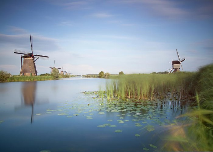 Tranquility Greeting Card featuring the photograph Landscape With Windmills, Kinderdijk by Frank De Luyck