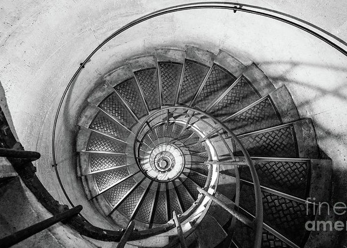 Napoleonic Greeting Card featuring the photograph Lblack And White View Of Spiral Stairs Inside The Arch De Triump by PorqueNo Studios