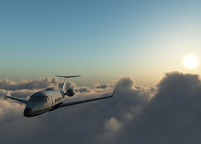 Mid-air Greeting Card featuring the photograph Learjet 60 Above The Clouds by Joelena