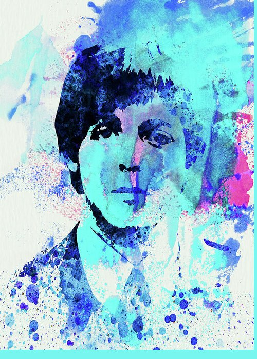 Beatles Greeting Card featuring the mixed media Legendary Paul Watercolor by Naxart Studio