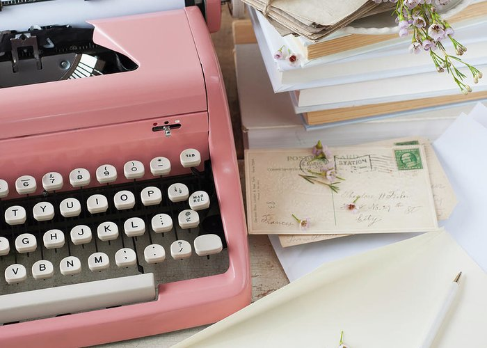 Office Greeting Card featuring the photograph Letters By Antique Typewriter by Tetra Images