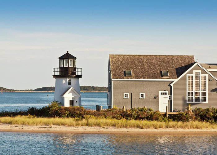 Grass Greeting Card featuring the photograph Lewis Bay Lighthouse, Hyannis, Cape by Olegalbinsky