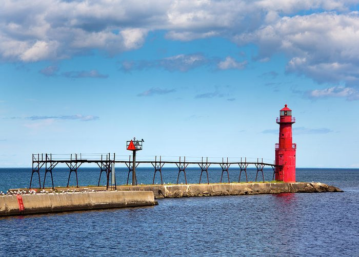 Lake Michigan Greeting Card featuring the photograph Lighthouse And Pier On Lake Michigan by Jamesbrey