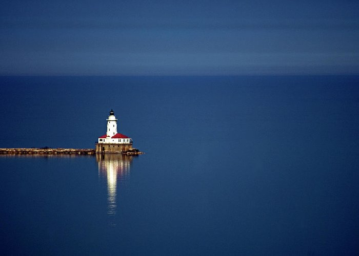 Outdoors Greeting Card featuring the photograph Lighthouse On A Lake by By Ken Ilio
