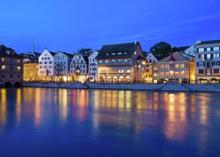 Zurich Greeting Card featuring the photograph Limmat River Waterfront In Downtown by Benedek