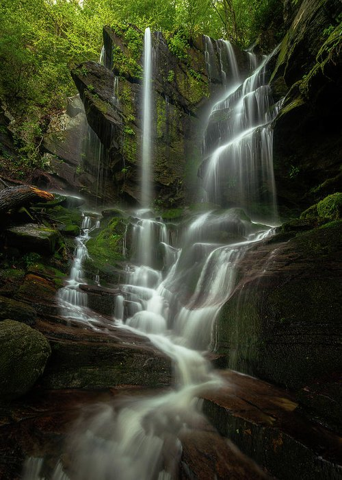 Linville Gorge Greeting Card featuring the photograph Linville Gorge - Waterfall by Mike Koenig