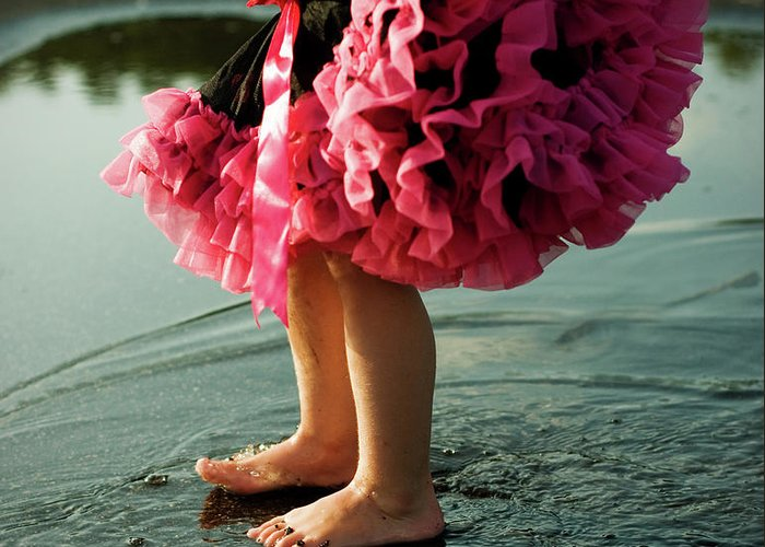 Toddler Greeting Card featuring the photograph Little Girls Feet Splashing And Dancing by Ssj414