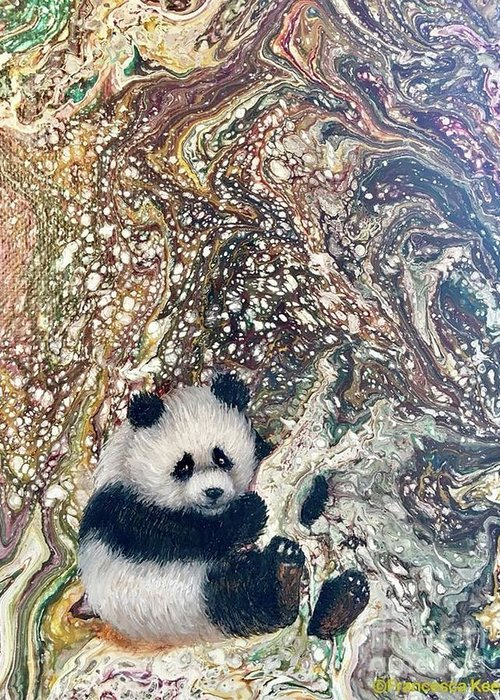 Panda Greeting Card featuring the painting Little Panda by Francesca Kee
