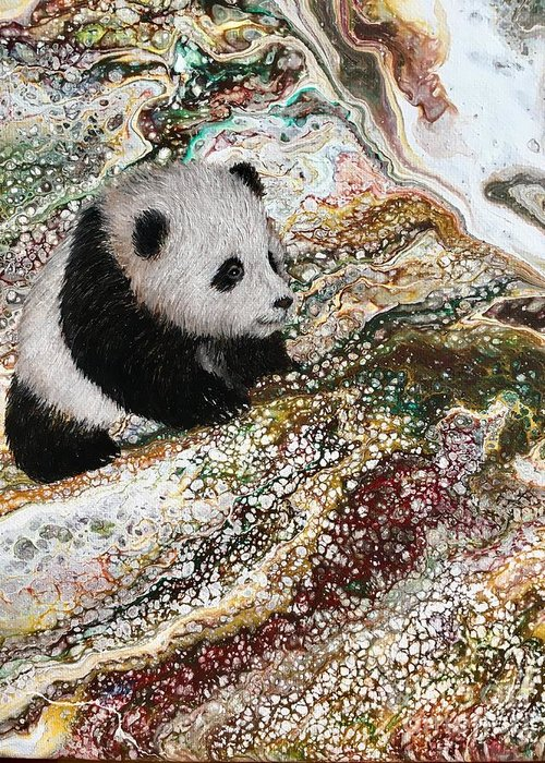 Panda Greeting Card featuring the painting Little Panda2 by Francesca Kee