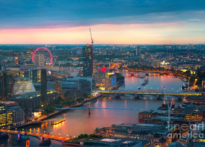 Capital Greeting Card featuring the photograph London At Sunset, Panoramic View by Ir Stone