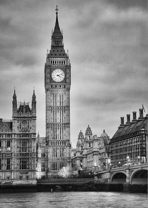 Clock Tower Greeting Card featuring the photograph London, Big Ben, Black And White by Elisabeth Pollaert Smith