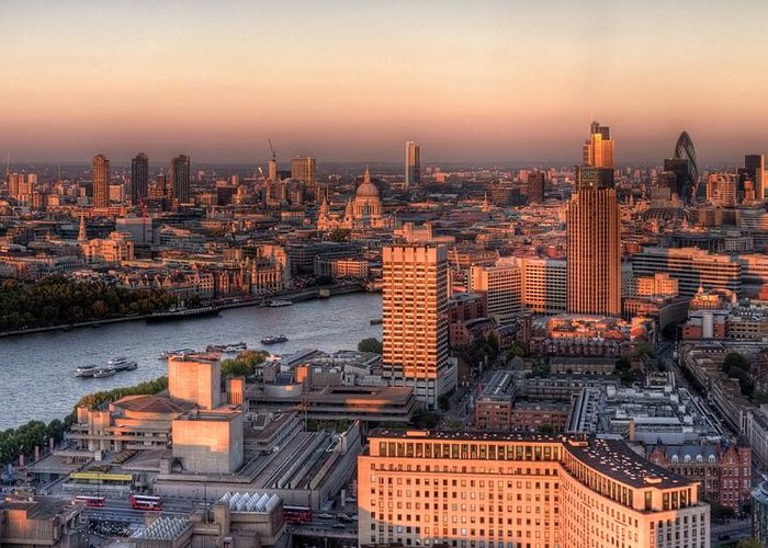 Cityscape Greeting Card featuring the photograph London Cityscape At Sunset by Michael Lee