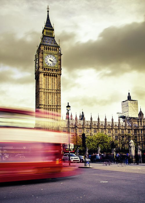 Clock Tower Greeting Card featuring the photograph London Double Decker Bus Near Big Ben by Filippobacci