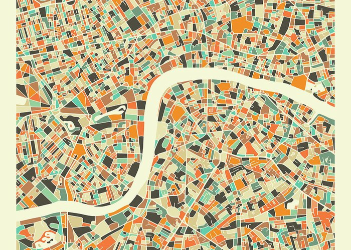 London Greeting Card featuring the digital art London Map 1 by Jazzberry Blue