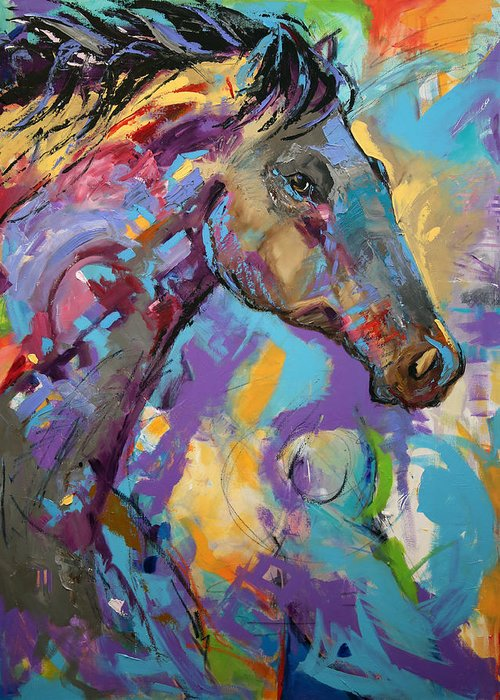 Laurie Pace Horse Greeting Card featuring the painting Loner by Laurie Pace