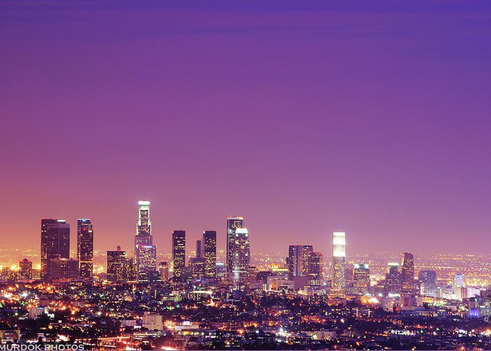 Clear Sky Greeting Card featuring the photograph Los Angeles At Dusk by Dj Murdok Photos