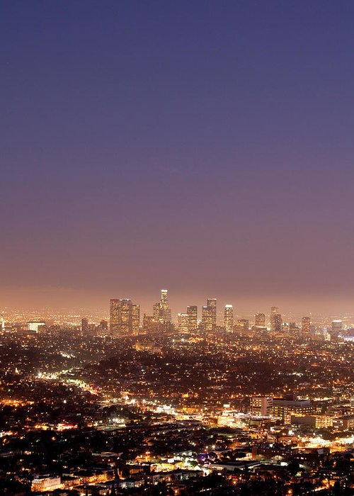 Scenics Greeting Card featuring the photograph Los Angeles Skyline At Twilight by Uschools