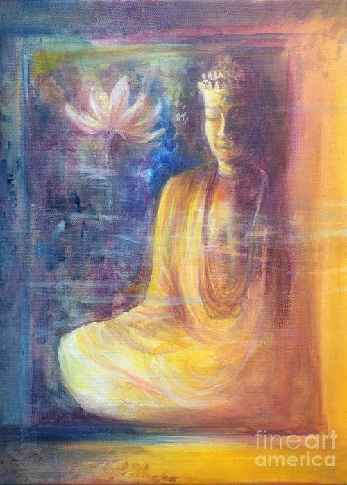Dorje Sempa Greeting Card featuring the painting Lotus flower before a Diamond mind Dorje sempa by Lizzy Forrester