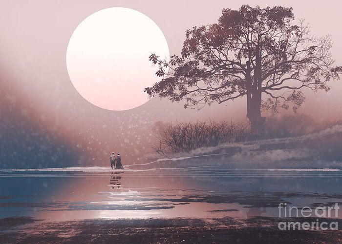 Love Greeting Card featuring the digital art Love Couple In Winter Landscape With by Tithi Luadthong