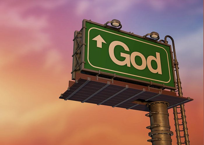 Information Medium Greeting Card featuring the photograph Low Angle View Of A God Billboard At by Philpell